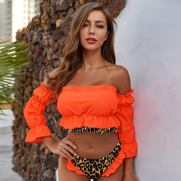 Leopard Ruffle Trim Off The Shoulder Long Sleeve Bikini Set, Orange
