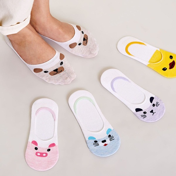 5pairs Cartoon Graphic Invisible Socks, Multicolor