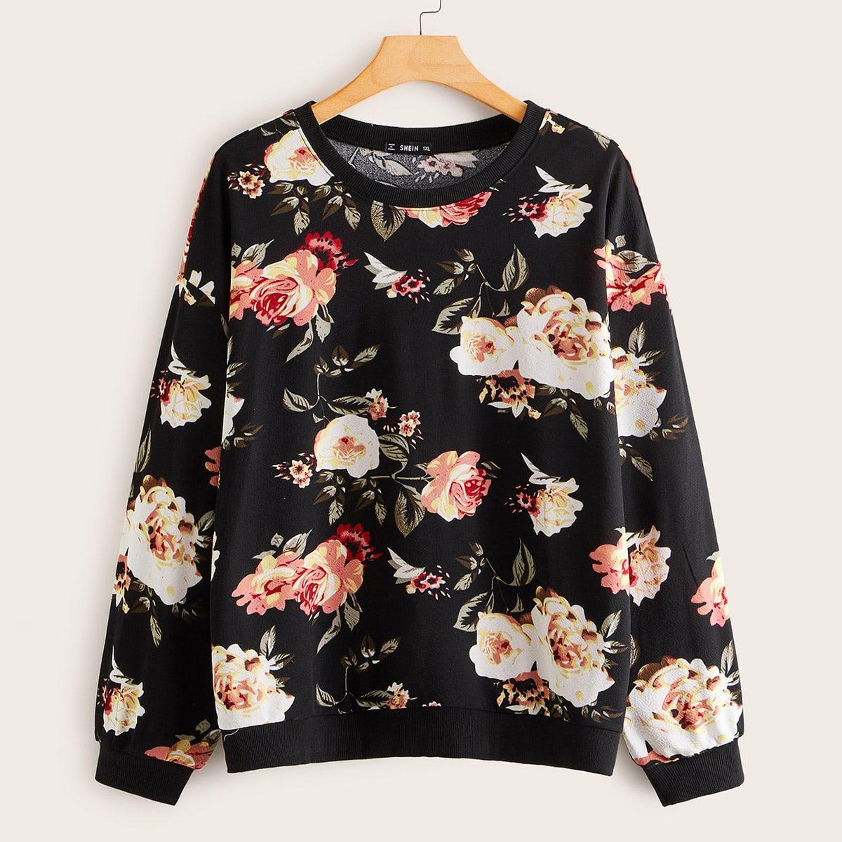 Zwart Casual Bloemen