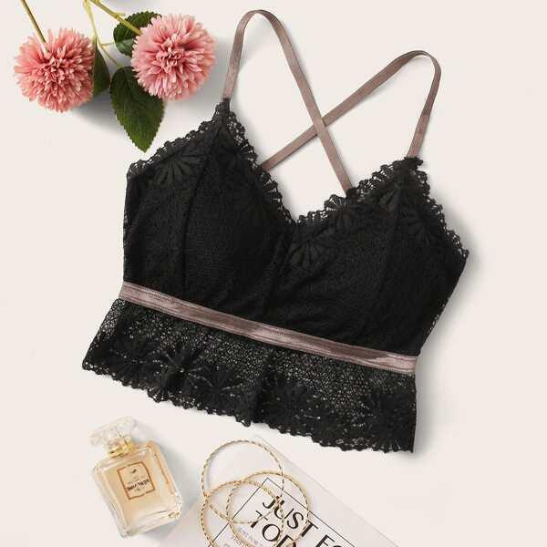 Floral Lace Criss Cross Bralette, Black