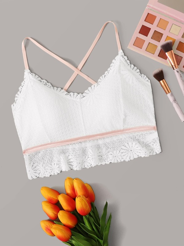 Floral Lace Criss Cross Bralette, White