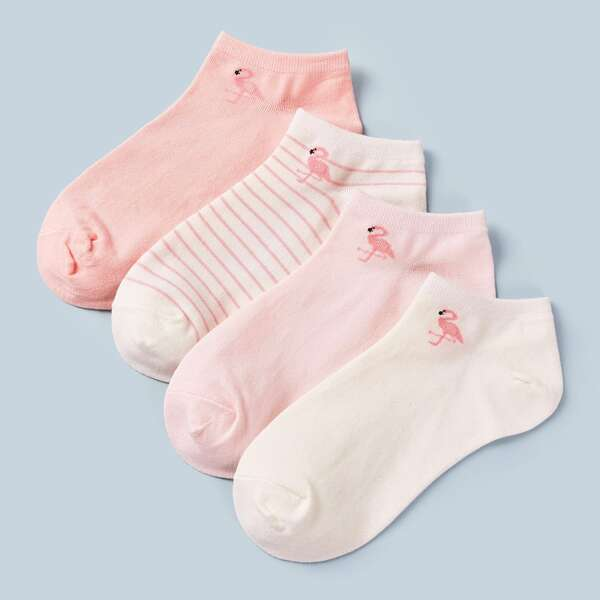 4pairs Flamingos & Striped Pattern Ankle Socks, Multicolor