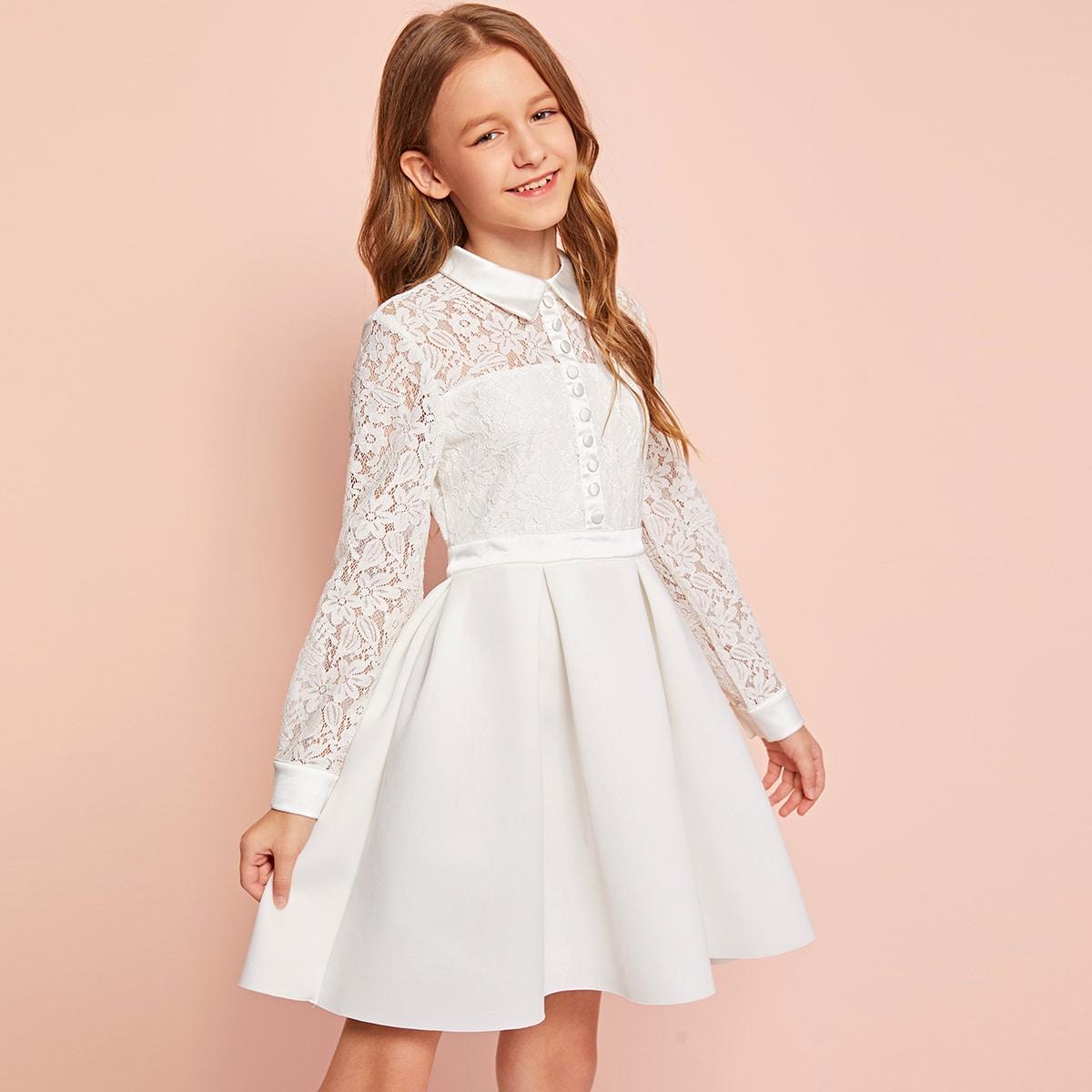 Плиссированное платье с пуговицами и кружевом для девочек фото