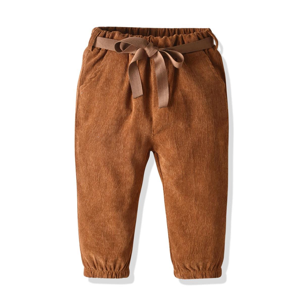 Вельветовые брюки с поясом для девочек от SHEIN