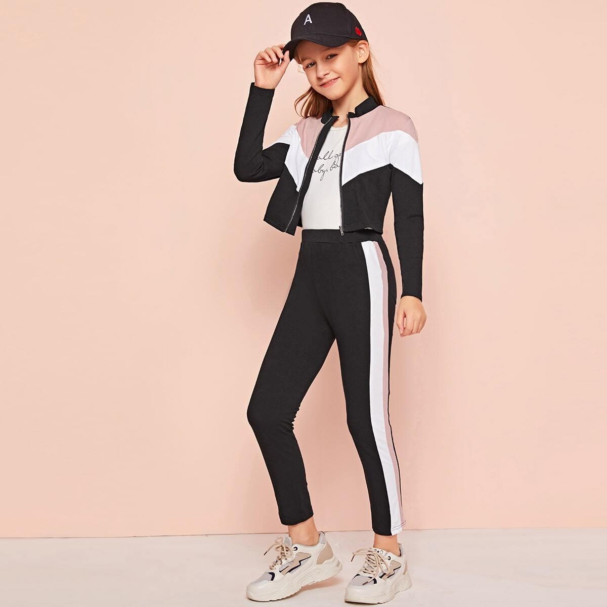 Контрастная куртка с молнией и леггинсы для девочек от SHEIN