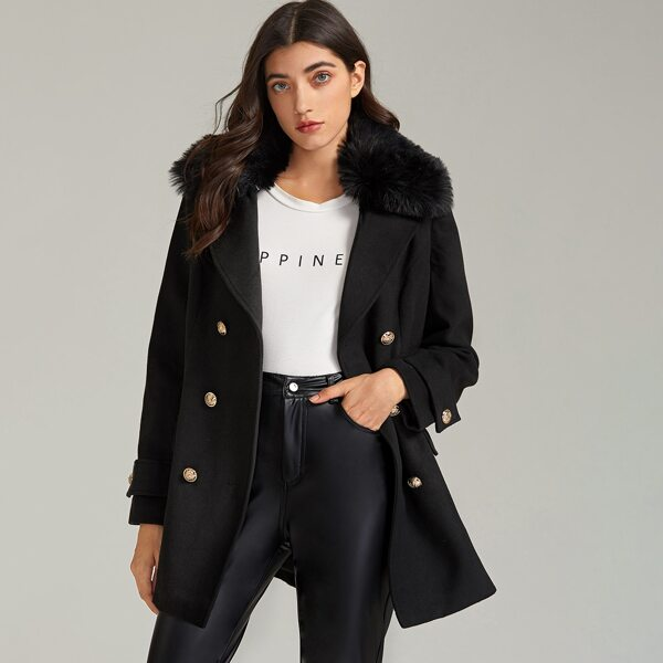 Contrast Faux Fur Collar Flap Pocket Double Breasted Coat, Black