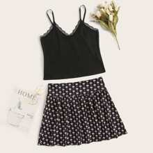 Lace Panel Cami Top & Sunflower Print Skirt