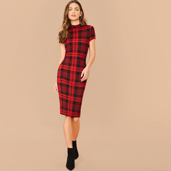 Mock Neck Plaid Bodycon Dress, Red
