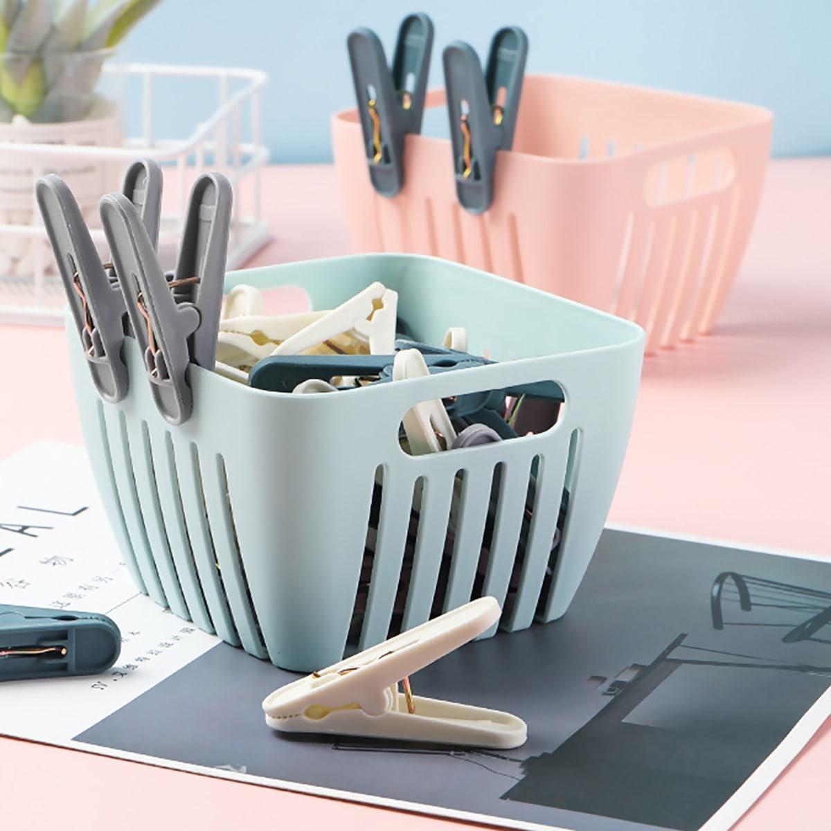 24-delige plastic wasknijper met mandje