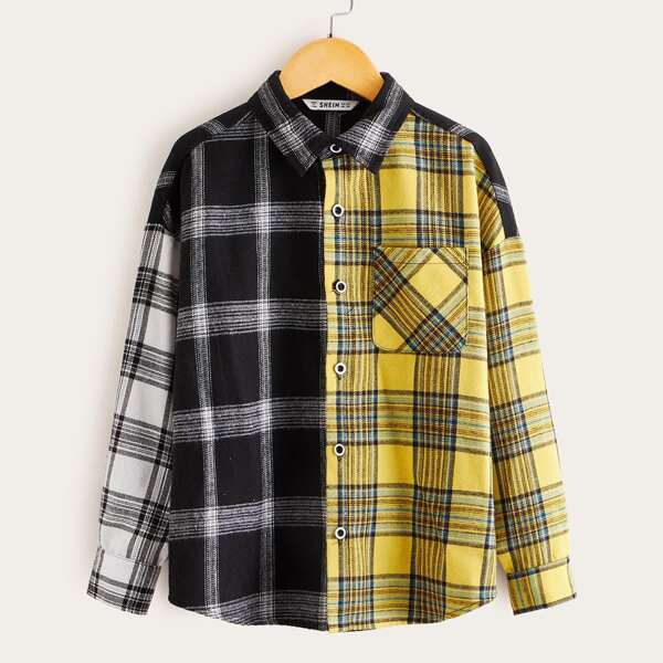 Boys Pocket Patched Color Block Plaid Shirt, Multicolor