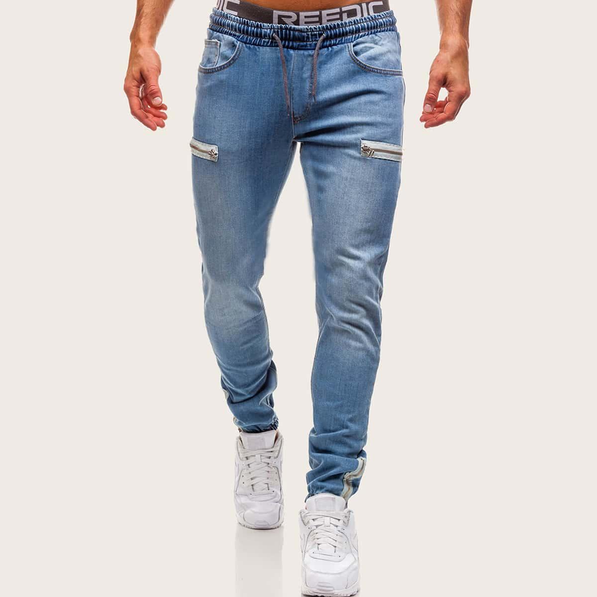 Blauw Casual Vlak Heren Jeans Zak