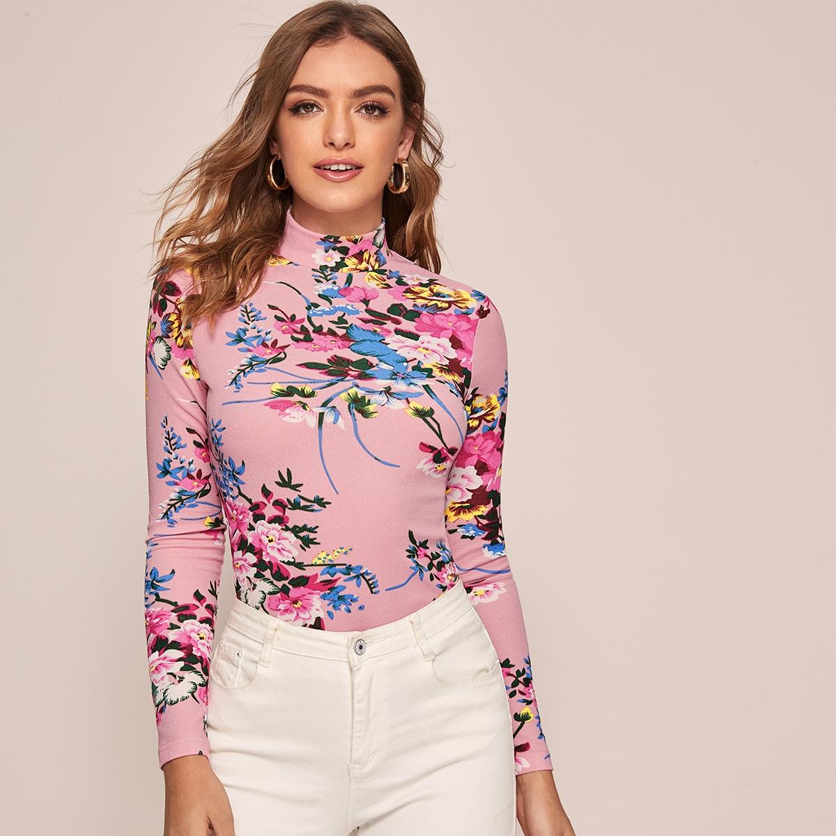 SHEIN / Camiseta con estampado botánico de cuello alzado