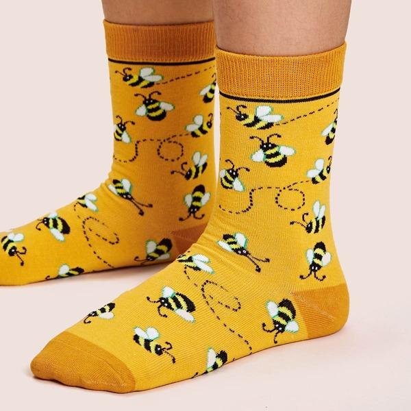 1pair Bee Pattern Socks, Yellow