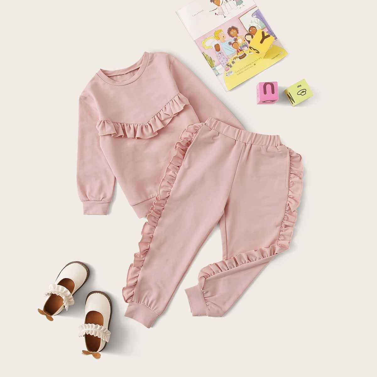 Розовый Кайма Ровный цвет Повседневный Комплекты для девочек от SHEIN