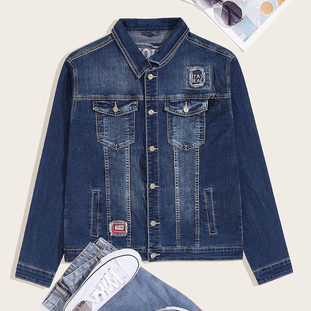 Marine Casual Tekst Heren Jeans jassen