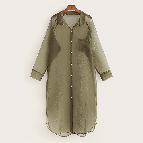 High Low Curved Hem Sheer Blouse, Army green