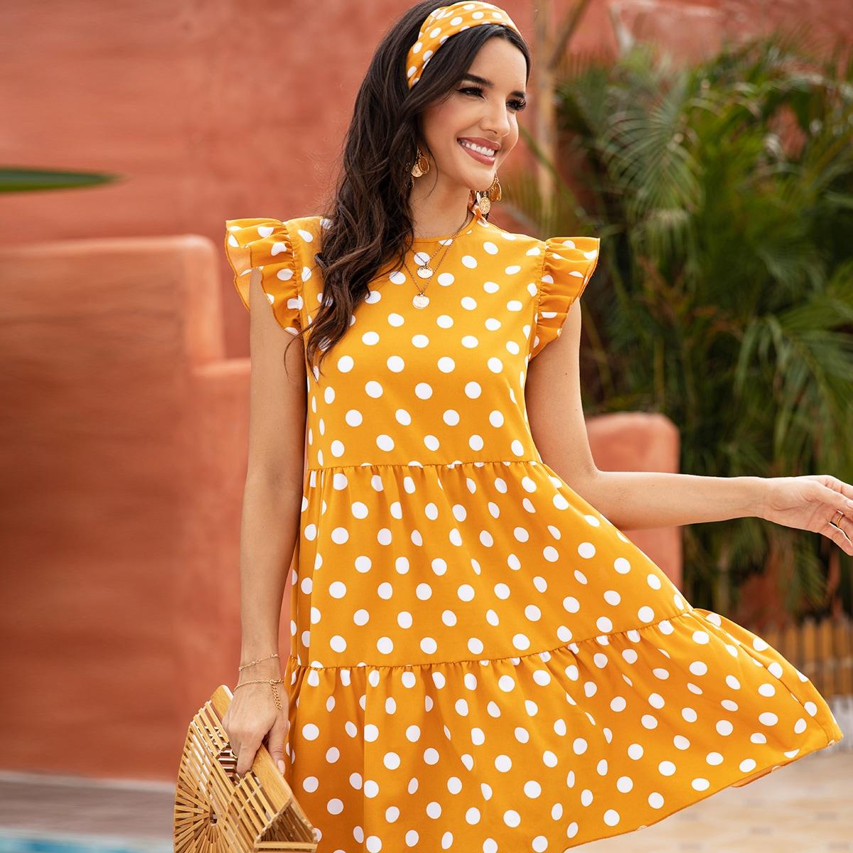 Платье в горошек без рукавом и повязки на голову от SHEIN