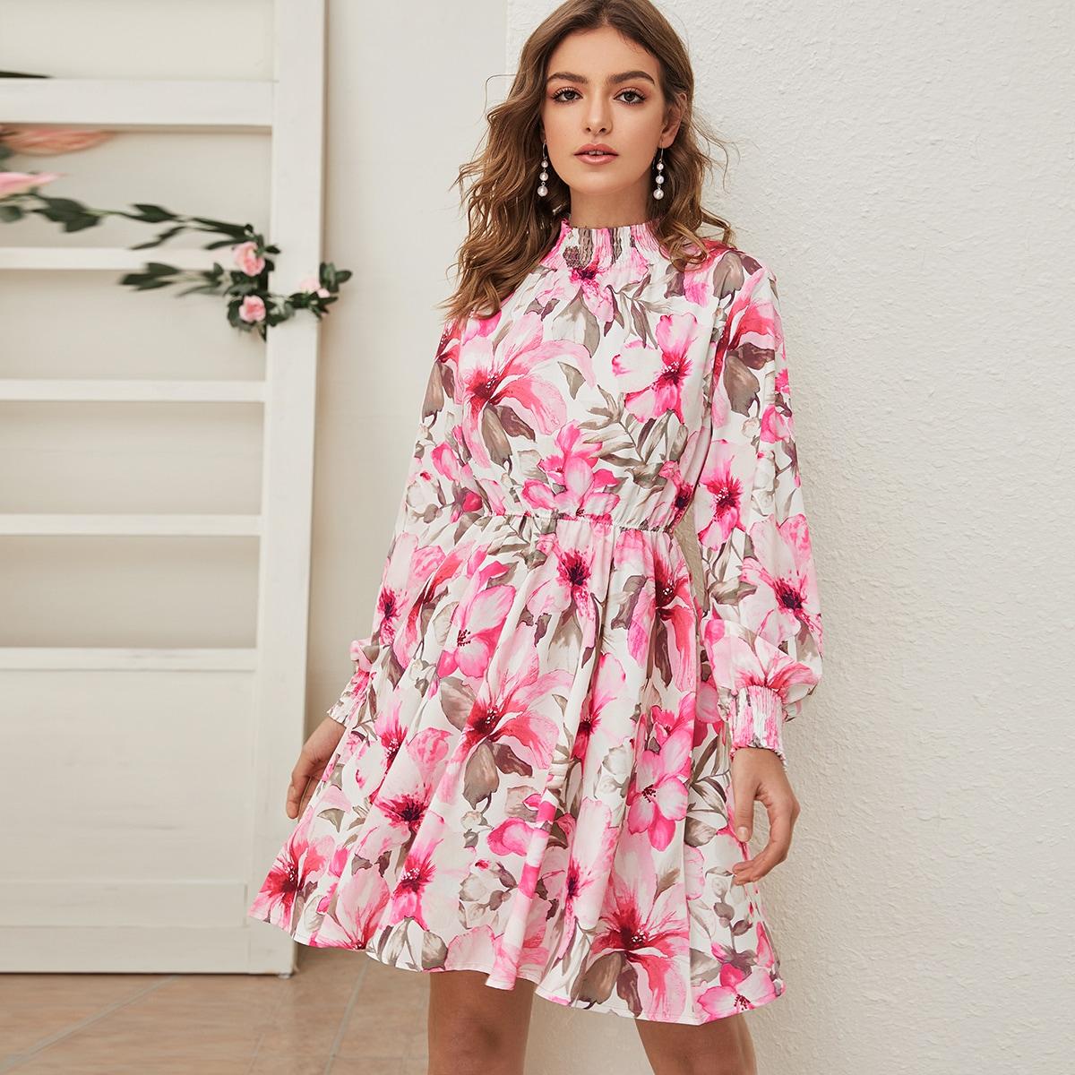 SHEIN / Floral Print Shirred Collar High Waist Dress