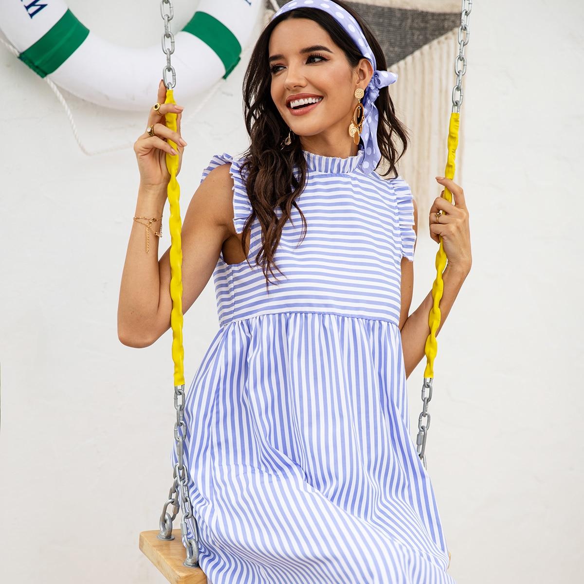 Полосатое платье с оборками без рукавов и повязки на голову от SHEIN