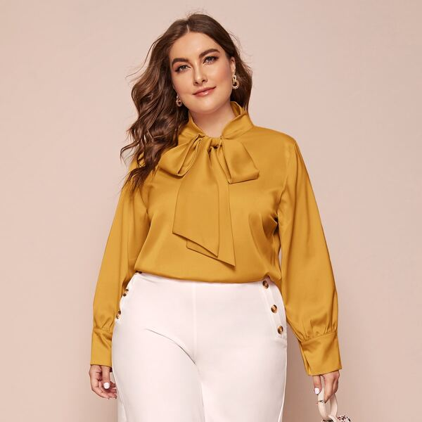 Plus Solid Tie Neck Blouse, Yellow