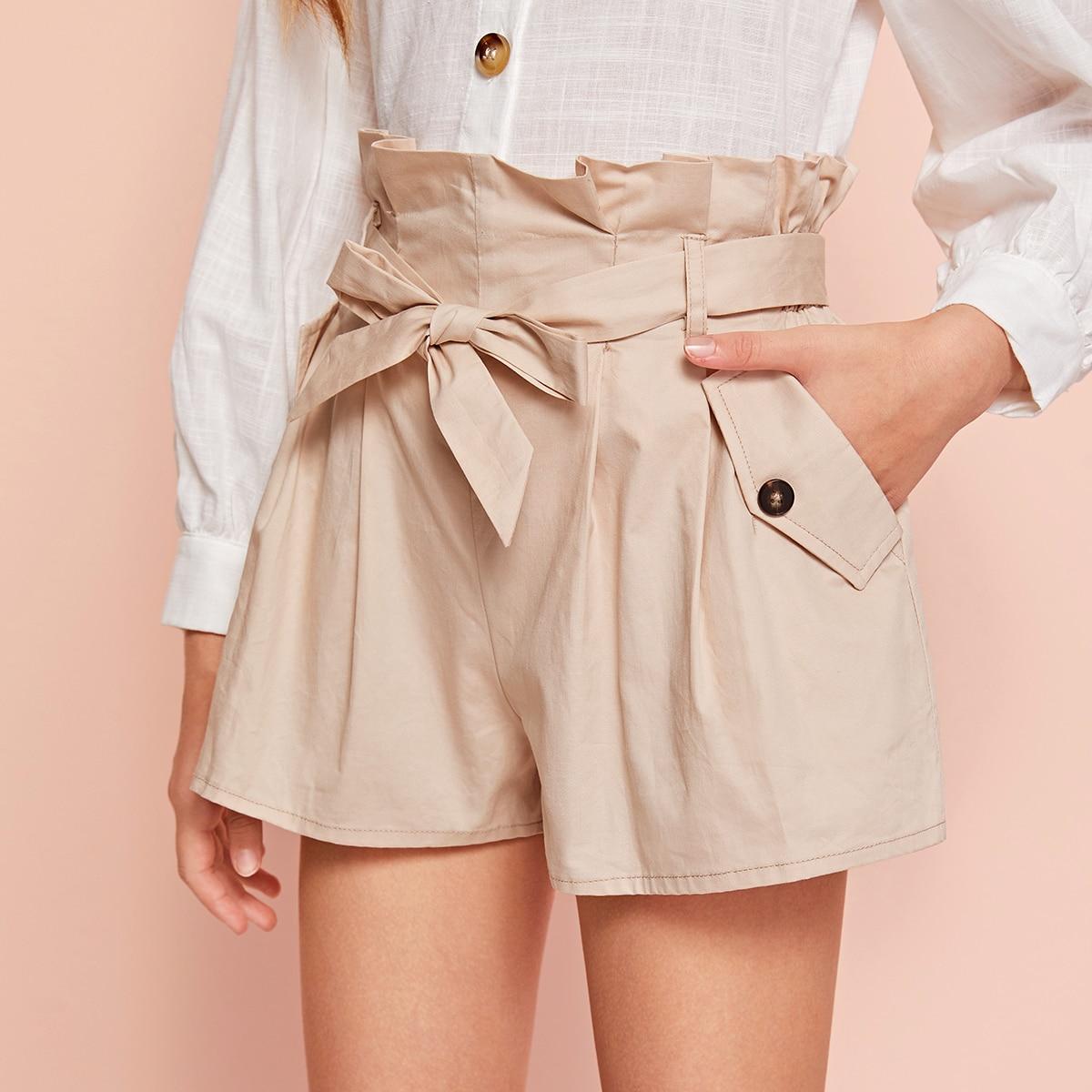 Широкие шорты с поясом и присборенной талией для девочек от SHEIN