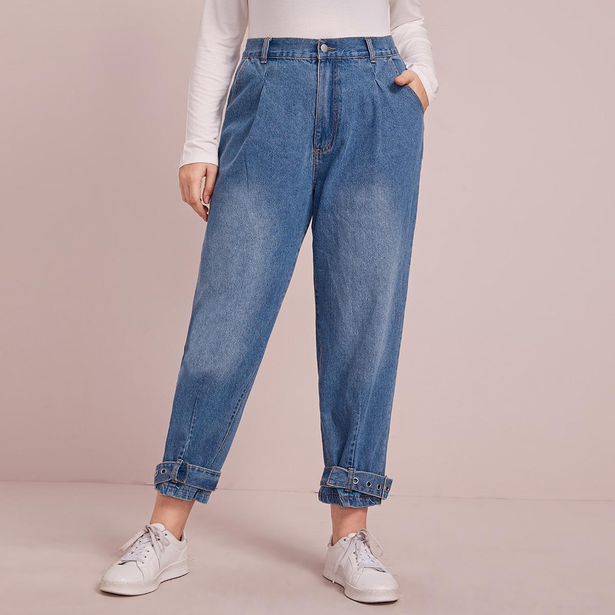 Blauw Casual Vlak Grote maten: jeans Knoop
