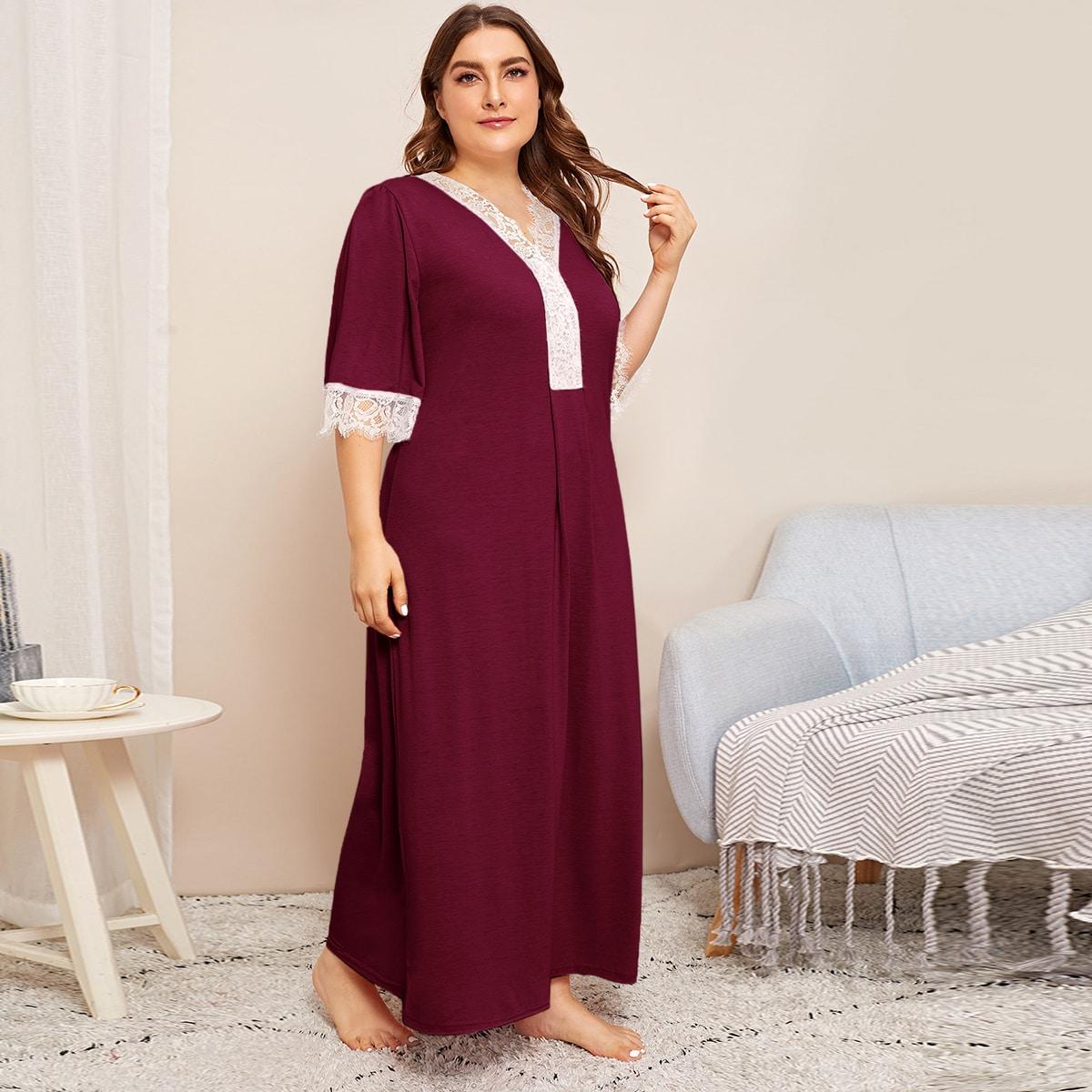 Ночная рубашка размера плюс с кружевной отделкой от SHEIN