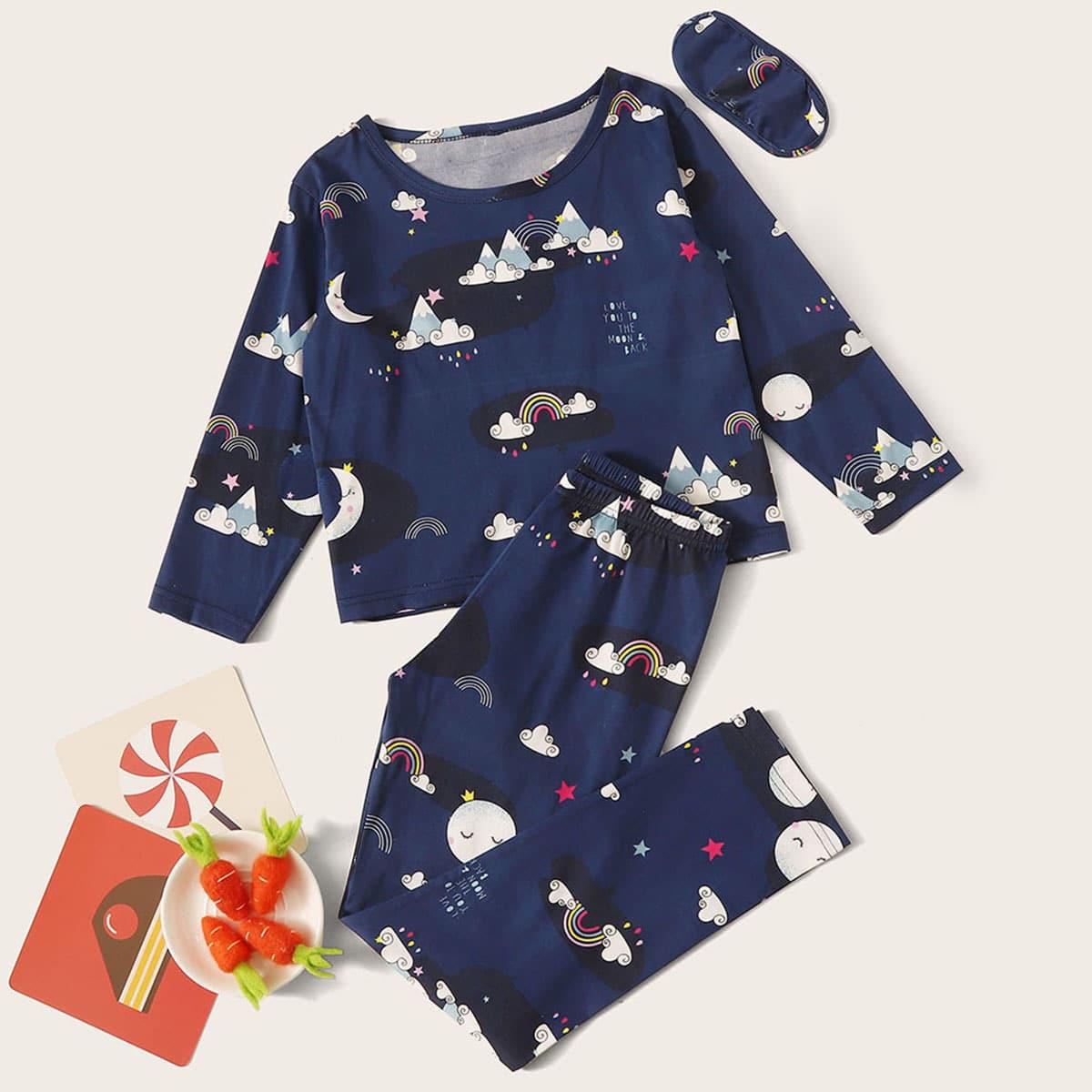 Маска для глаз и пижама с принтом радуги для девочек от SHEIN