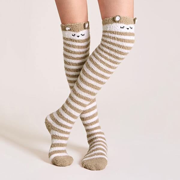1pair Striped Pattern Ear Decor High Socks, Multicolor