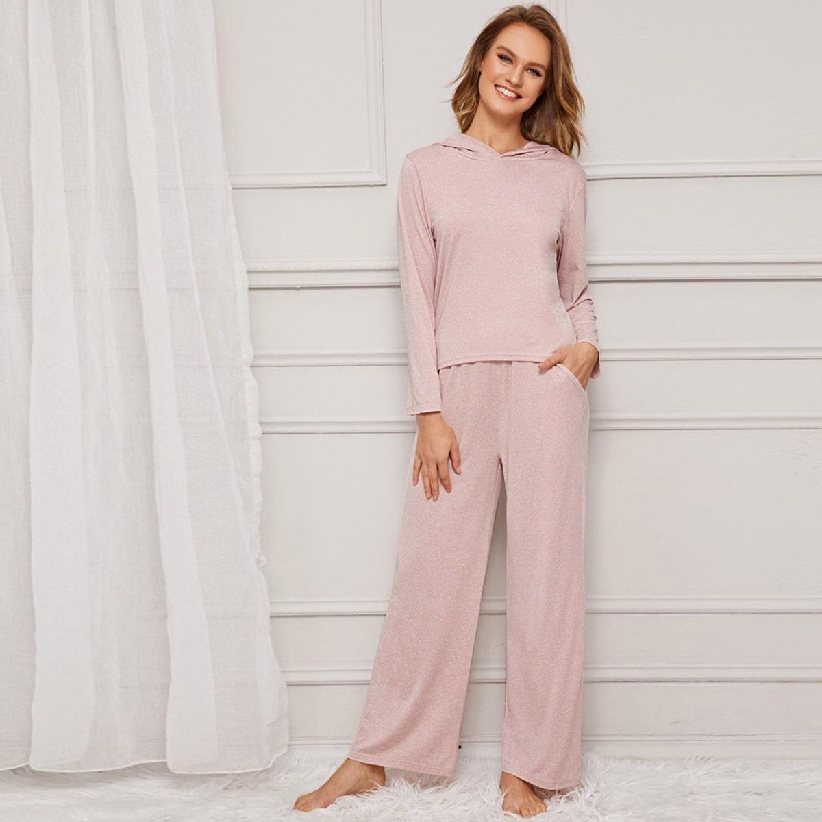 Roze  Casual Vlak Lounge kleding