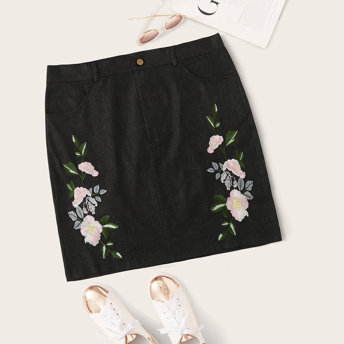 Zwart Casual Bloemen Grote maten: jeansrokken Borduurwerk