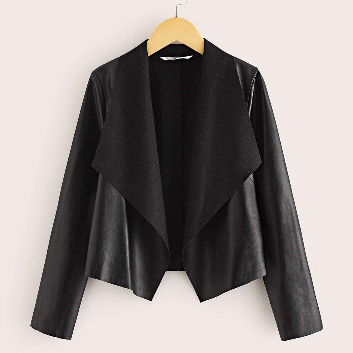 Куртка из искусственной кожи с каскадным вырезом для девочек от SHEIN