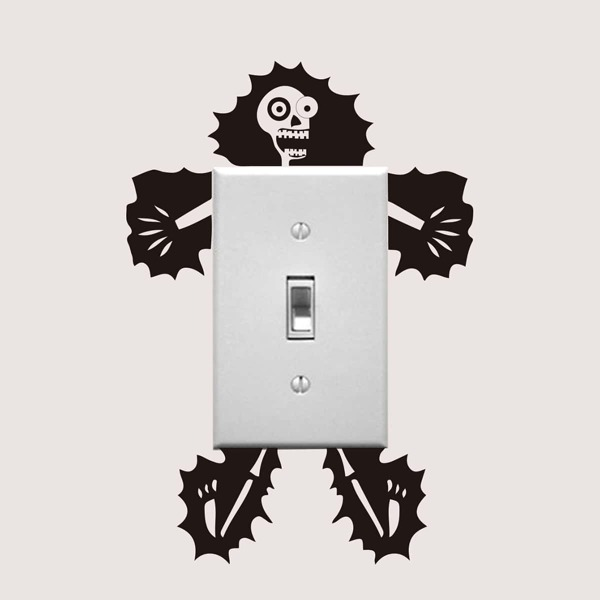 Electric Shock Skull Switch Sticker