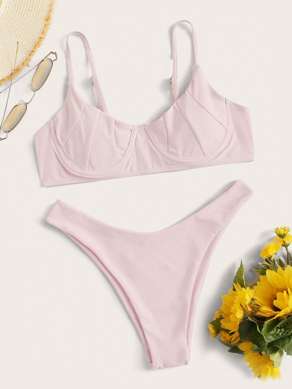Ruched Underwire Top With High Cut Bikini, Pink