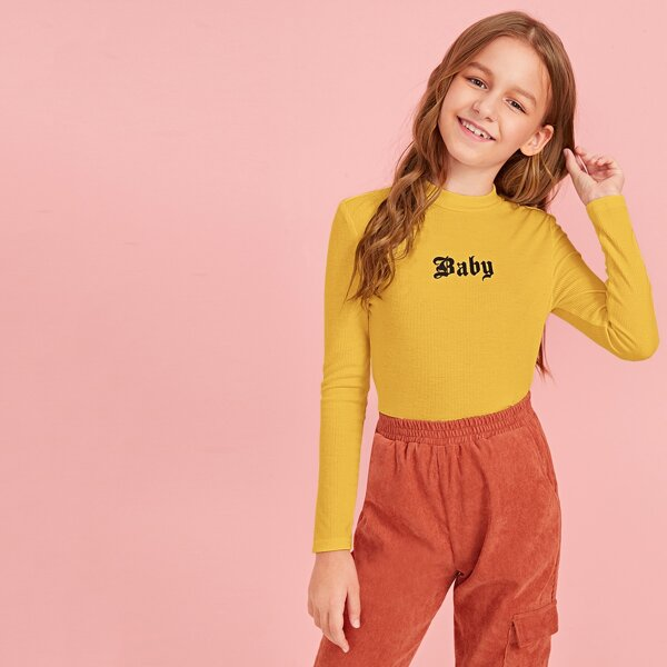 Girls Mock-neck Letter Graphic Fitted Tee, Yellow bright