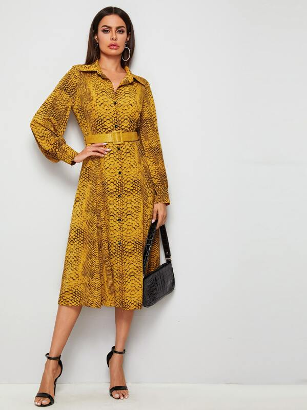 Snake Print Belted Shirt Dress, Yellow, Andy
