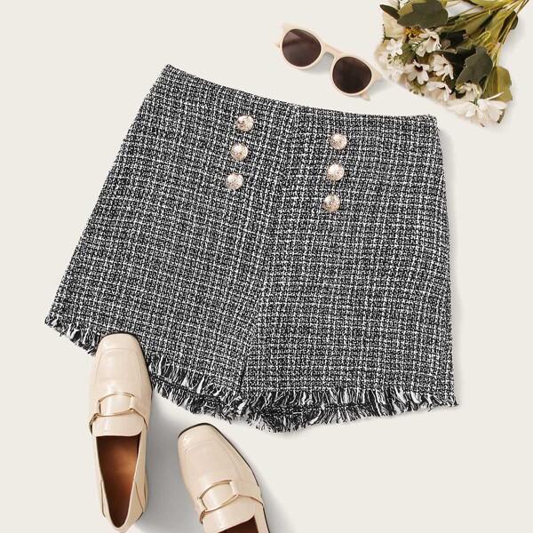 Tweed Plaid Raw Hem Button Decoration Shorts, Black and white