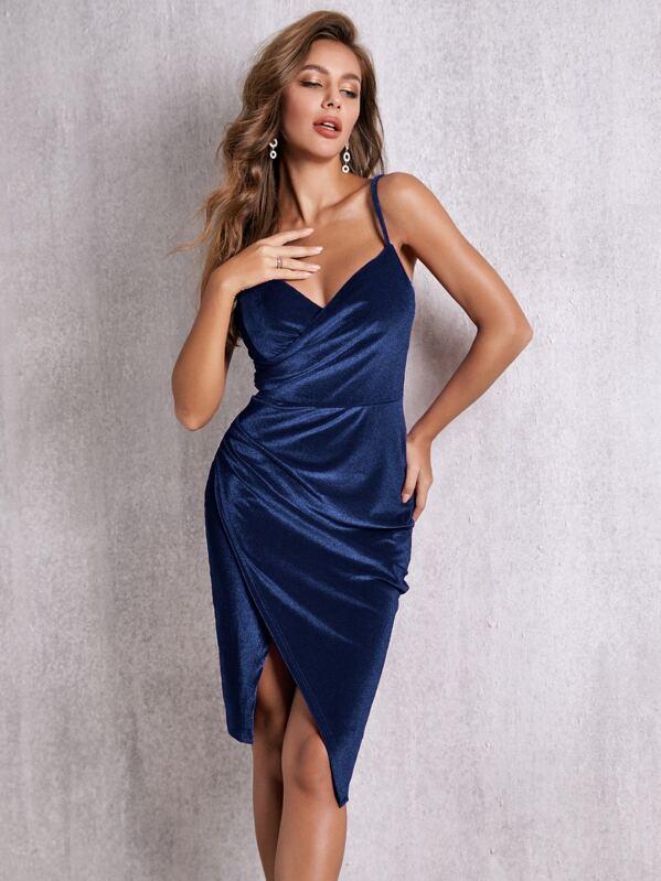 SBetro Wrap Velvet Cami Dress, Navy, Hanna