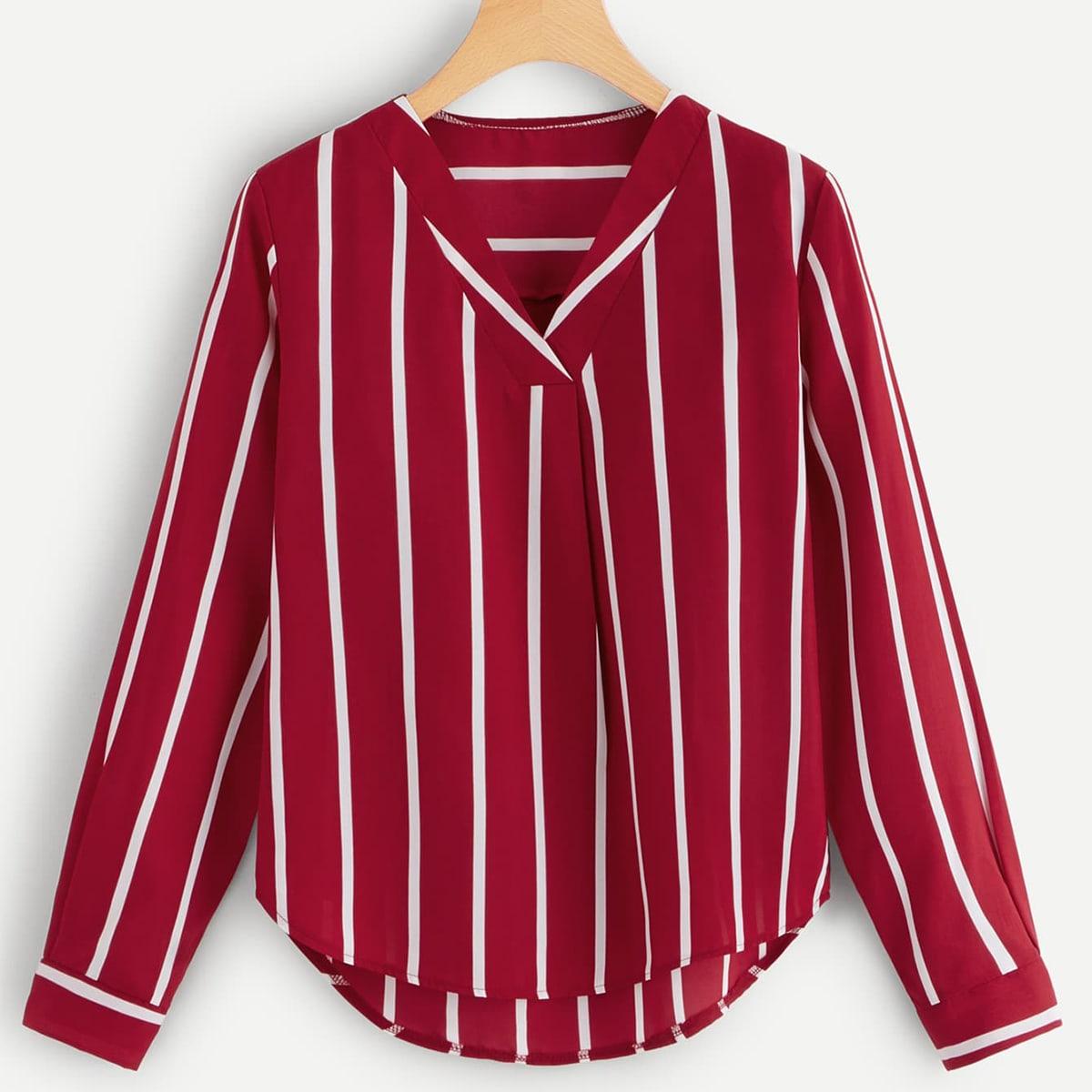 Verticaal gestreepte blouse