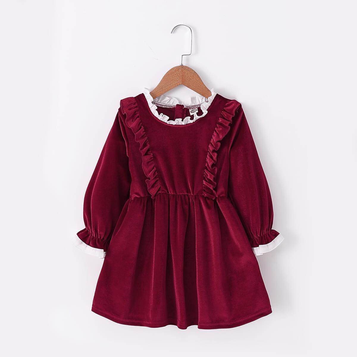 SHEIN / Kleinkind Mädchen Samt Kleid mit Falten