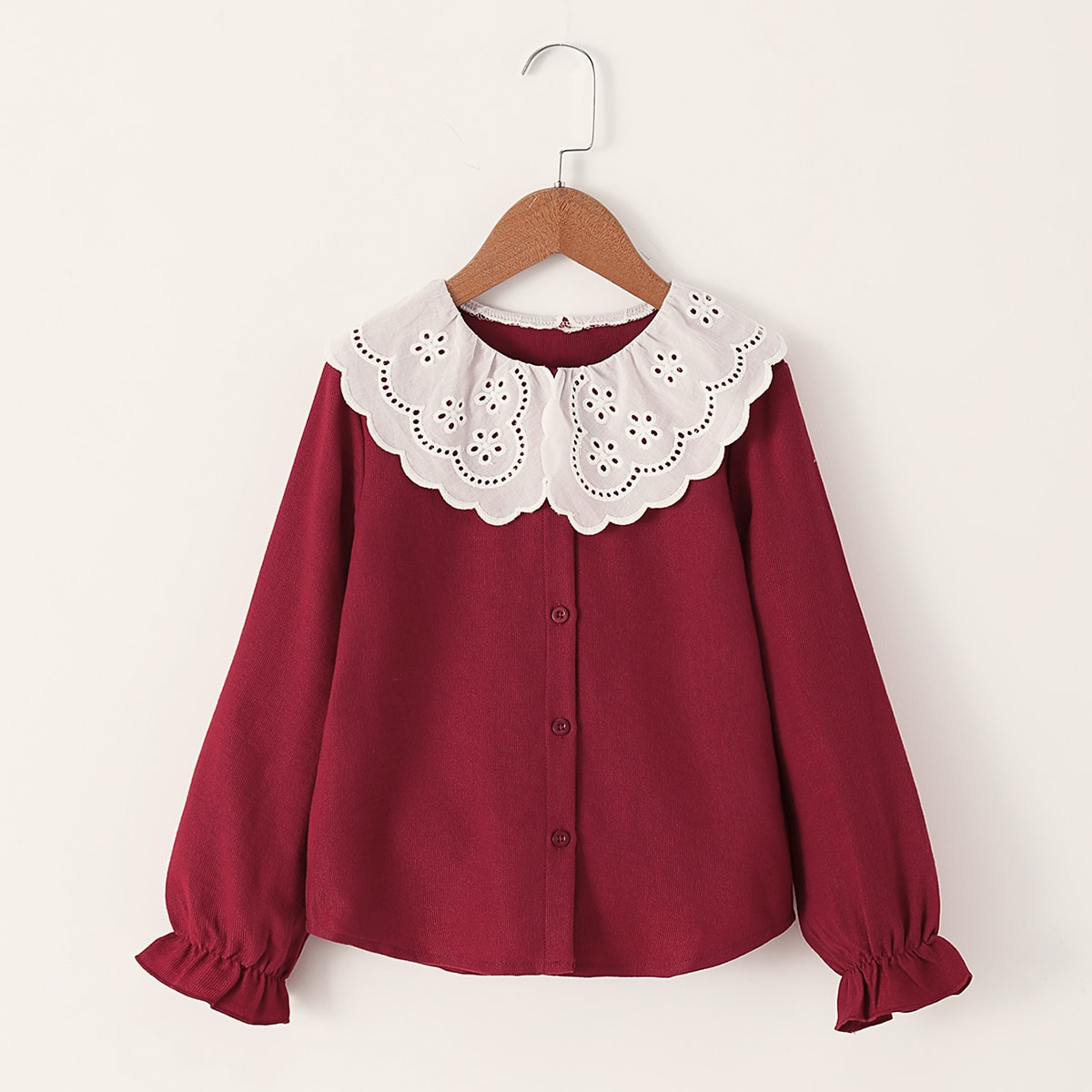 Вельветовая контрастная блуза с пуговицами для девочек от SHEIN