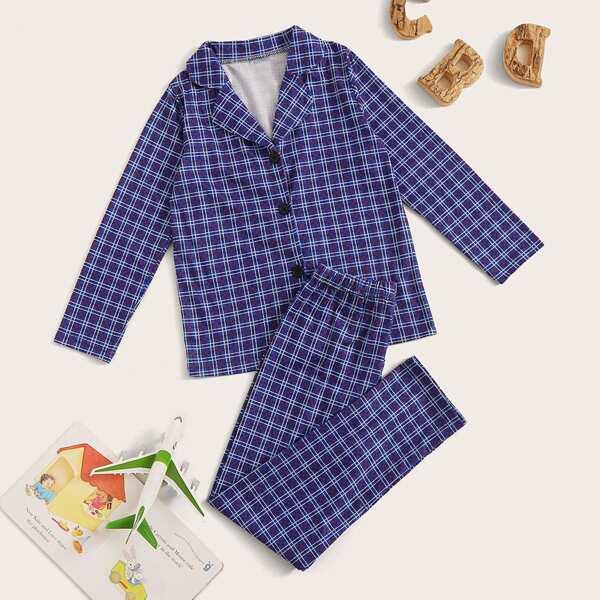 Boys Plaid Button-up PJ Set, Blue
