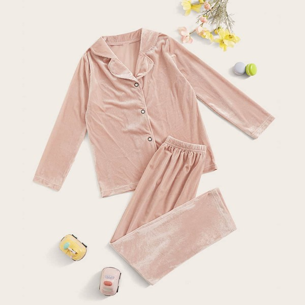 Girls Button-up Velvet PJ Set, Pink