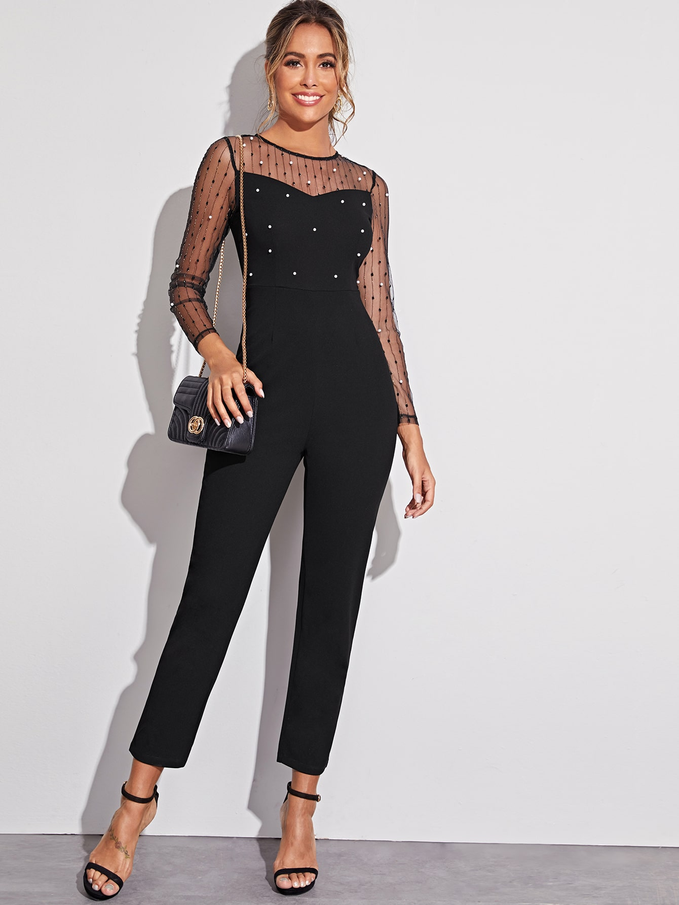 Women Fashion Bodycon Elegant Satin Contrast Mesh Lace Bodysuit Skirt Set