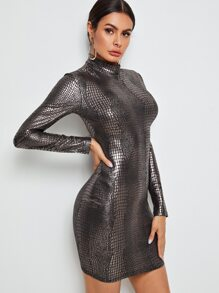 Crocodile | Metallic | Dress | Neck