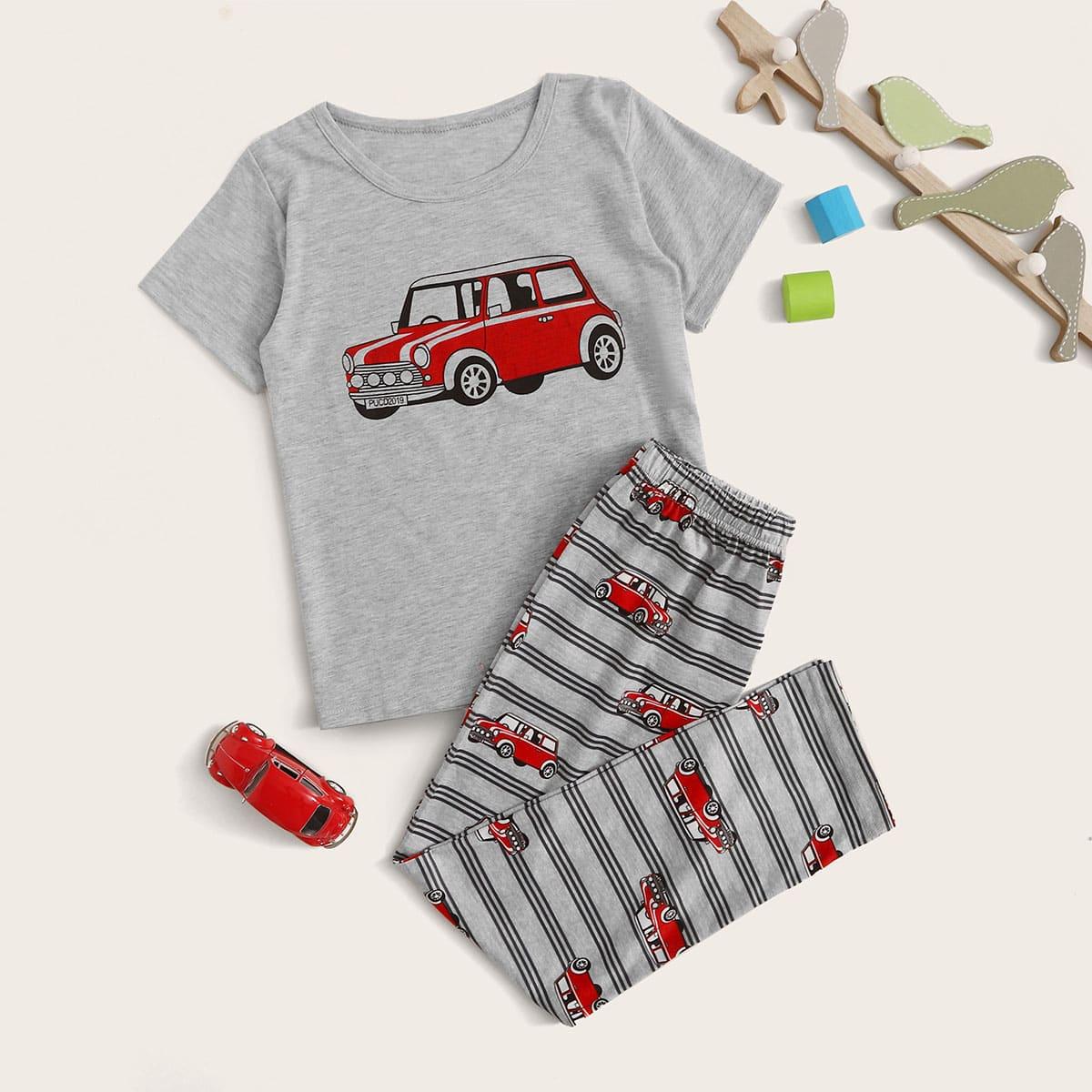Пижама с принтом мультяшной машины для мальчиков от SHEIN