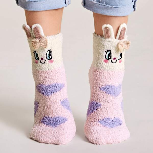 1pair Cartoon Graphic Fluffy Socks, Multicolor