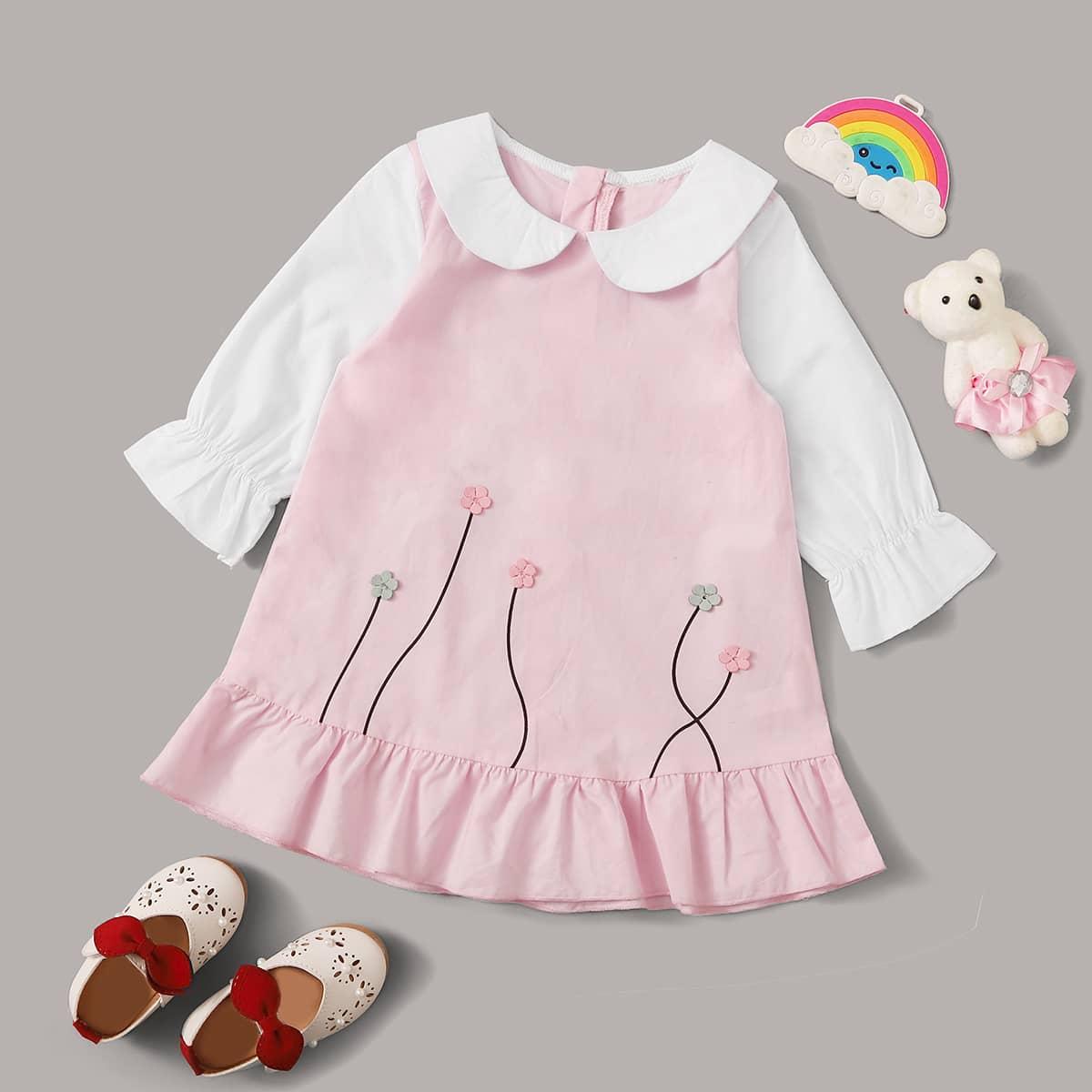Контрастное платье с оборками и цветочной заплатой для девочек от SHEIN