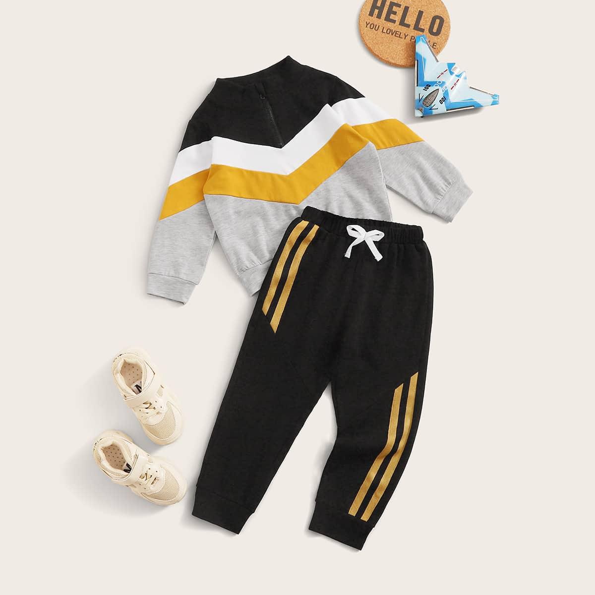 Джоггеры с полосками и контрастный шевронный свитшот с молнией для мальчиков от SHEIN