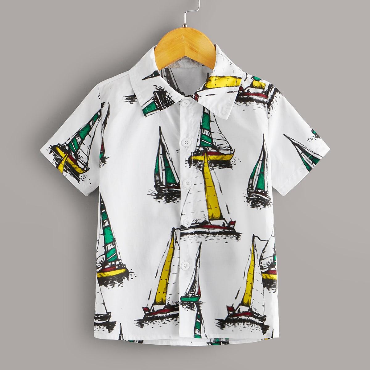 Рубашка с пуговицами и принтом для мальчиков от SHEIN